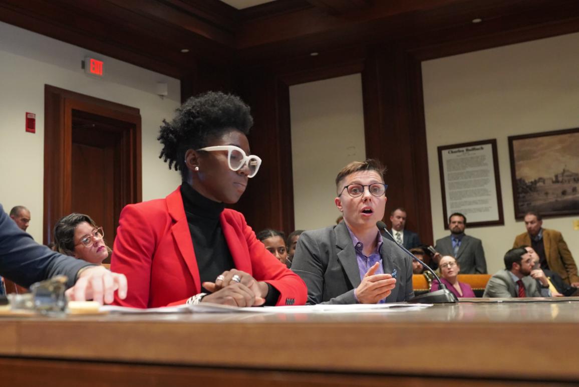 Joy Buolamwini and Kade Crockford testify at the State House