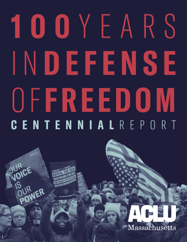 """100 years in defense of freedom: centennial report"" in red letters over blue image of people rallying"