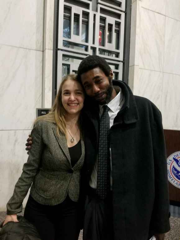 ACLU of Massachusetts staff attorney Adriana Lafaille and client Clayton Gordon outside courtroom
