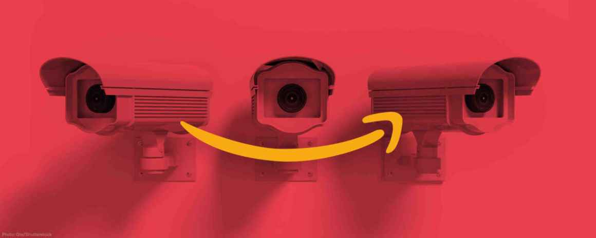 Three surveillance cameras with Amazon logo