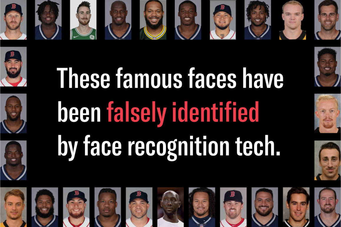 Collage of famous New England professional athletes who were falsely identified by face recognition tech.