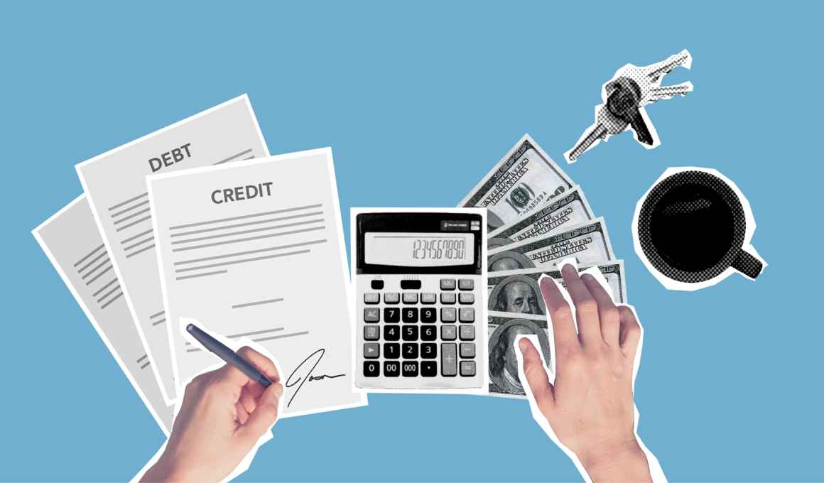 image of person with financial documents calculator, bills, coffee and car keys