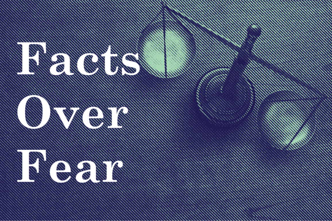 Facts Over Fear text on photo of scales of justice