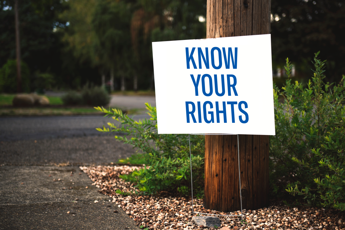 Know Your Rights on lawn sign