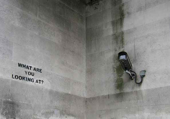"""Surveillance camera and words """"what are you looking at?"""""""
