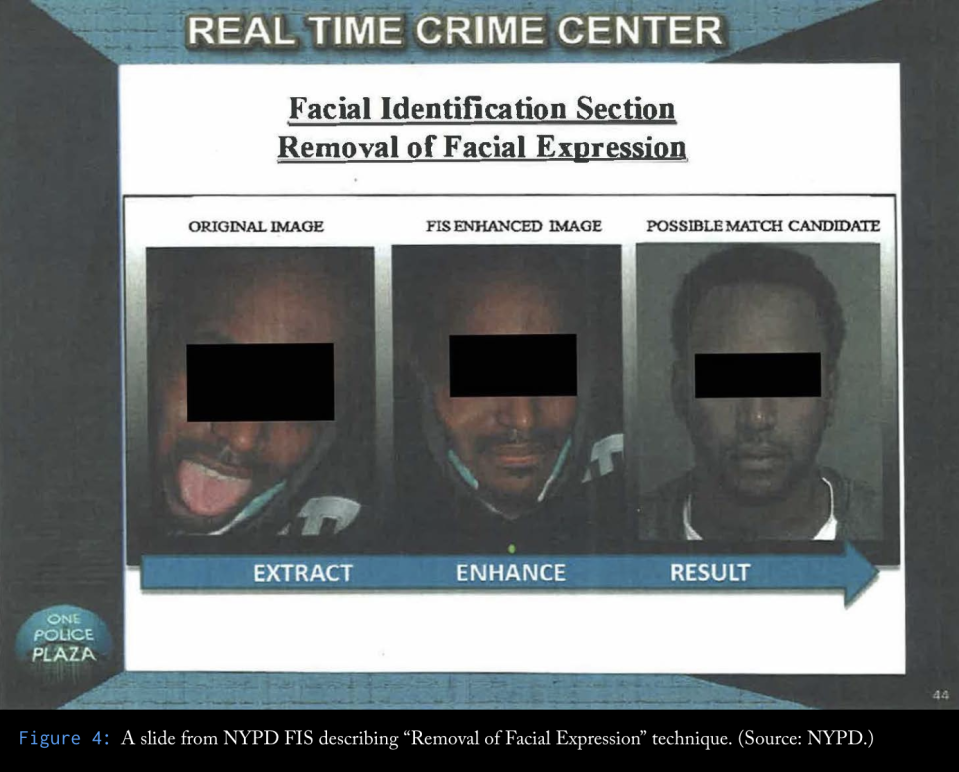"A slide from NYPD FIS describing ""removal of facial expression"" technique"