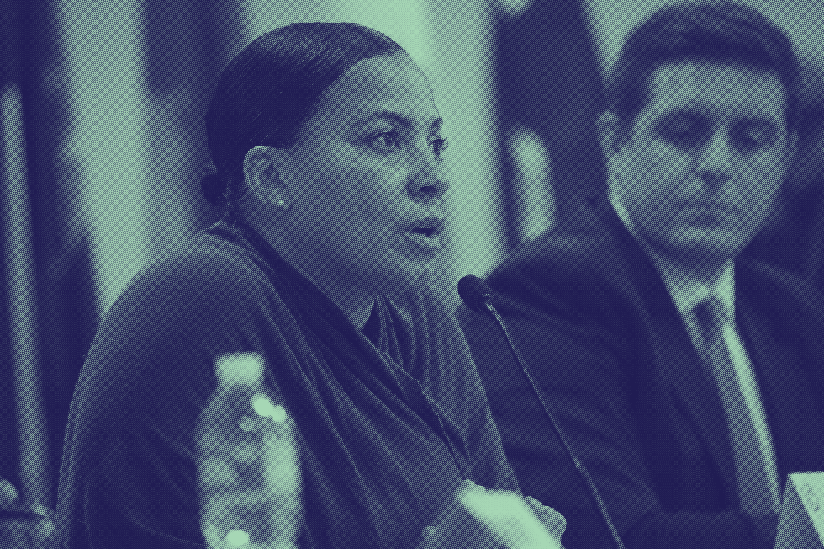 Rachael Rollins speaks at an ACLU-held DA candidate debate at the Suffolk House of Corrections in fall 2018.