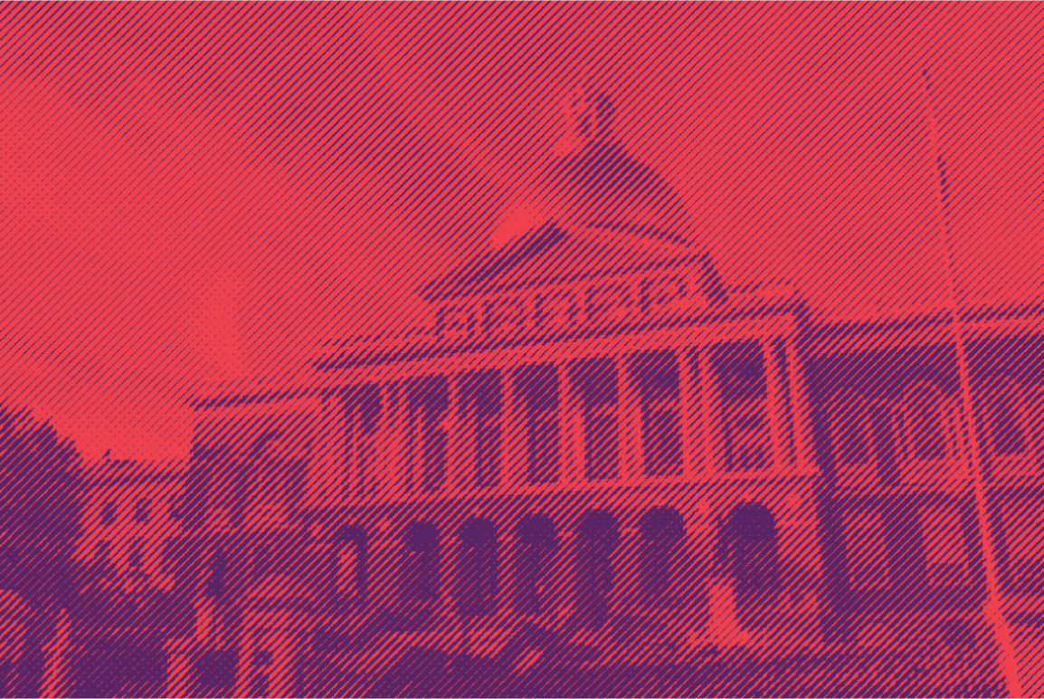 Massachusetts State House with red and purple color effect