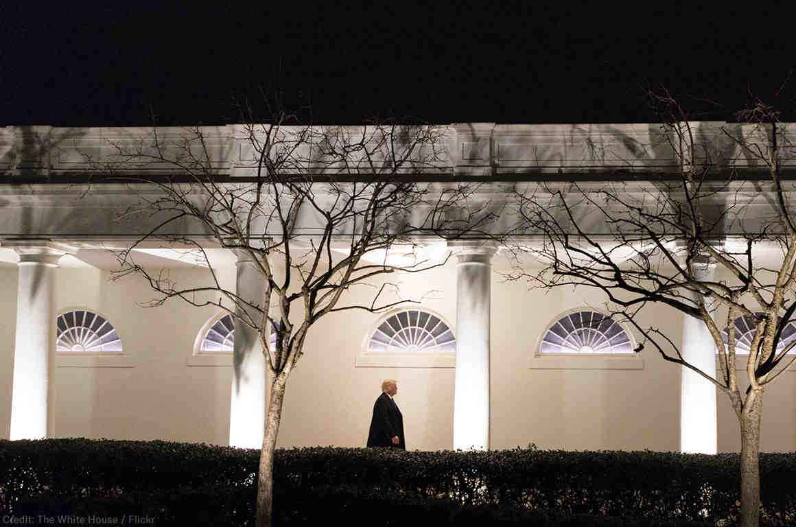 President Donald J. Trump walks down the West Colonnade of the White House