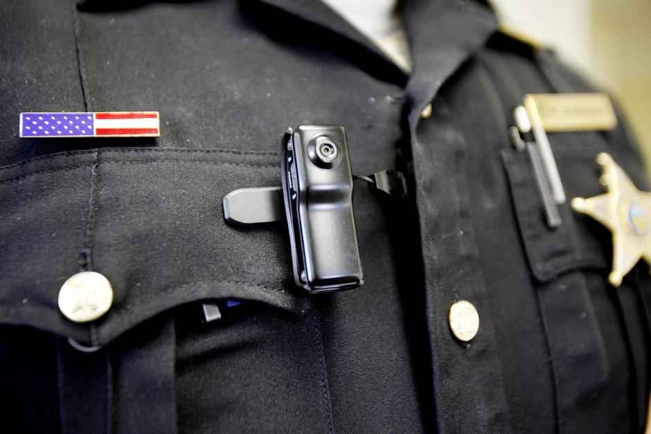 Body camera clipped onto police officer's uniform