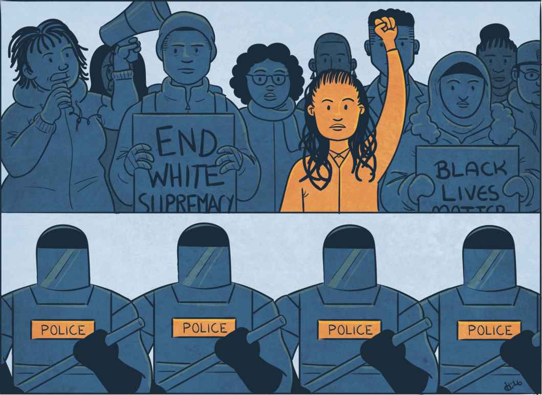 End White Supremacy Black Lives Matter Police Line Cartoon