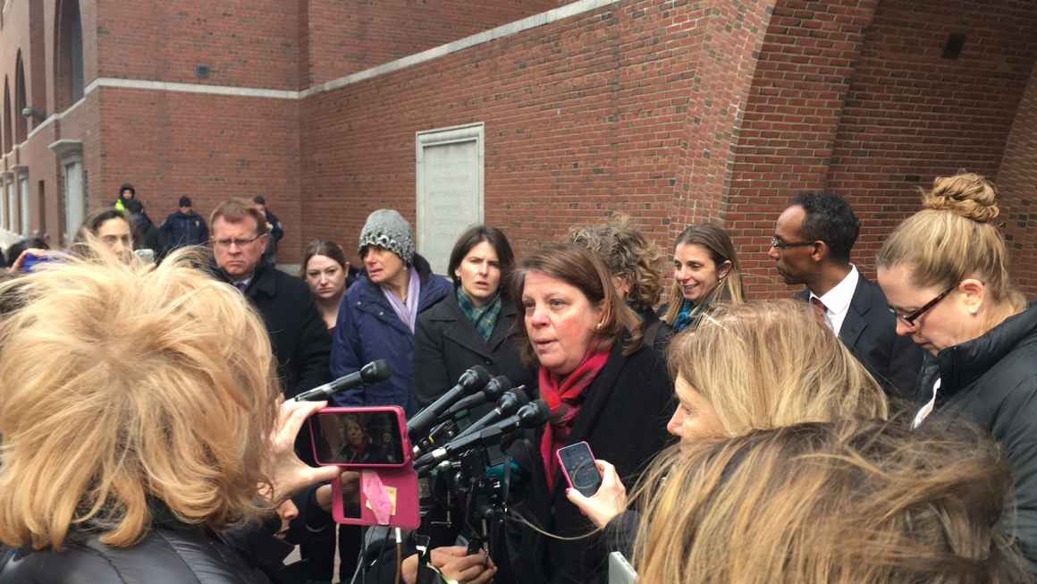 Carol Rose speaks with reporters about a hearing on our legal challenge to President Trump's Muslim travel ban, February 3, 2017, in Boston